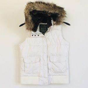 Eddie Bauer Goose Down Faux Fur Hoodie Puffer Vest